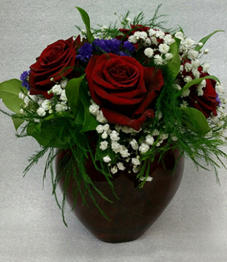Flowers By Lois Red Roses In Glass Red Heart Vase Columbus In